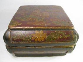 LG 19TH CENTURY CHINESE PAINTED WOOD BOX