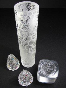 FOUR CONTEMPORARY ART GLASS PIECES LENOX HOUK VASE