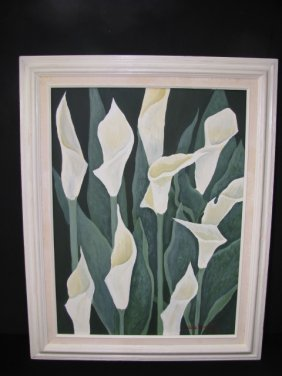 OIL ON CANVAS FLORAL PAINTING SIGNED DEBBIE LYNCH