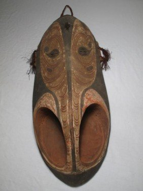 PAPUA NEW GUINEA CARVED WOOD TRIBAL MASK