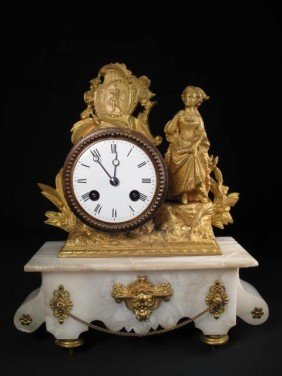 FRENCH ALABASTER MANTLE CLOCK