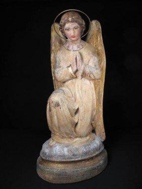 PLASTER SANTOS STYLE POLYCHROME ANGEL