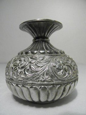 PERSIAN STYLE STERLING SILVER FLORAL VASE
