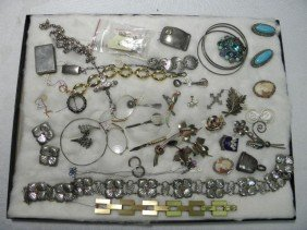 ASSORTED LADIES COSTUME JEWELRY: 14K STERLING SILV