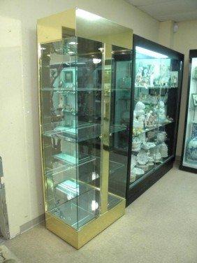 BRASS & GLASS DOUBLE DOOR LIGHTED DISPLAY CASE