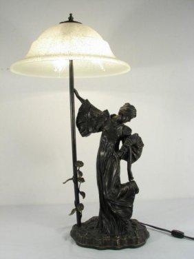 ART NOUVEAU STYLE FIGURAL BRONZE TABLE LAMP