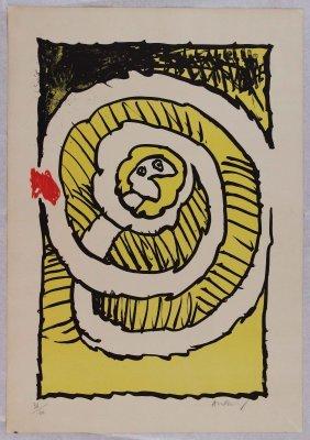 Pierre Alechinsky, Le Serpent, Litografia A Colori