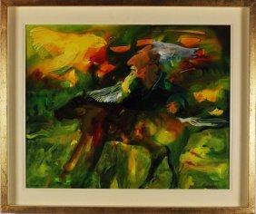 Robert Carroll, Darwin On Horse Back, Acrilico Su