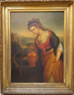 European 19th Century Painting Girl At Well