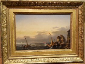 European 19th Century Seascape On Panel