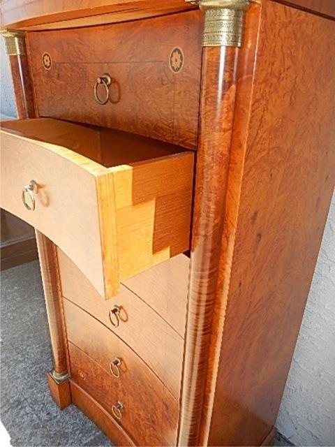 Birdseye maple 7 drawer lingere dresser lot 217 for 12 inch depth dresser
