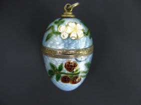 AN EGG SHAPED VIENNESE ENAMEL VINAIGRETTE