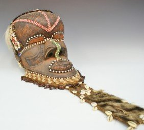 CARVED WOOD AND POLYCHROME AFRICAN MASK