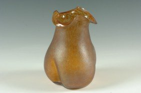 AN AUSTRIAN OIL SPOT ART GLASS VASE WITH PONTIL
