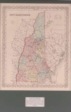 AN 1855 MAP OF NEW HAMPSHIRE BY J.H. COLTON