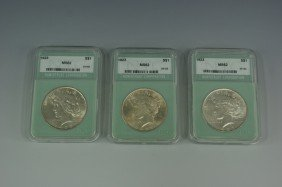 THREE 1923 MS62 PEACE SILVER DOLLARS