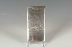 STERLING CALLING CARD CASE W EARLY AUTOMOBILE