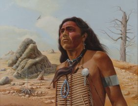 LAWRENCE SANCHEZ NATIVE AMERICAN TEMPERA ON PANEL