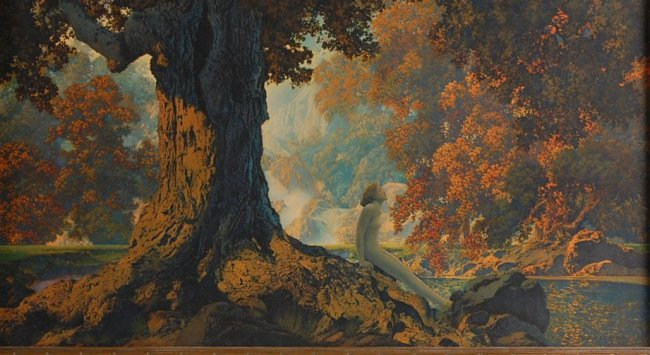 Original Maxfield Parrish Print Titled Dreaming Lot 430