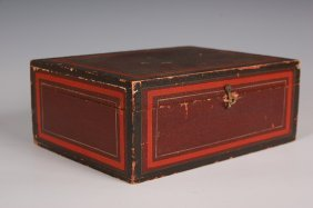 19TH C. DOCUMENT BOX WITH ORIGINAL PAINT DECORATION