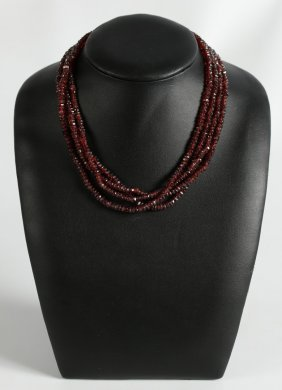Garnet Bead Necklace With 18k Diamond Turtle Clasp