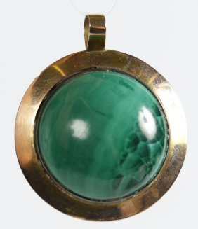 Vintage Malachite And 14 Kt Gold Locket Pendant