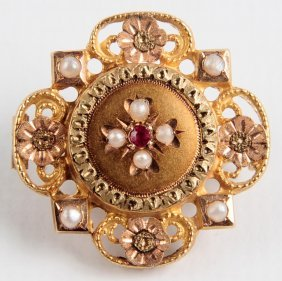 An Antique 14 Kt Gold Filigree Brooch With Gems