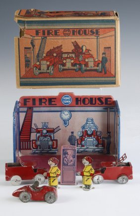 Marx C.1920 'home Town Fire House' Tin-litho Playset
