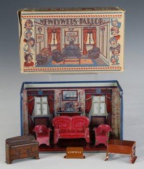 Marx C.1920 'newlyweds Parlor' Tin-litho Playset