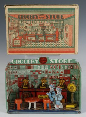 Louis Marx C.1920 'home Town Grocery Store' Playset