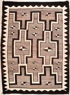 A Two Gray Hills Storm Pattern Navajo Rug