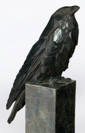 Pati Stajcar (b. 1958) Bronze Sculpture With Crow