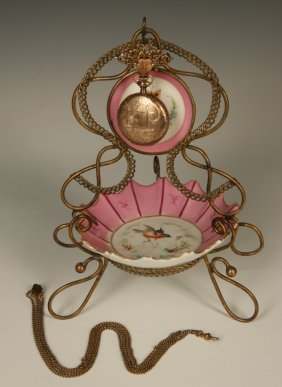 A Victorian Stand With Watch Hanger And Porcelain Tray
