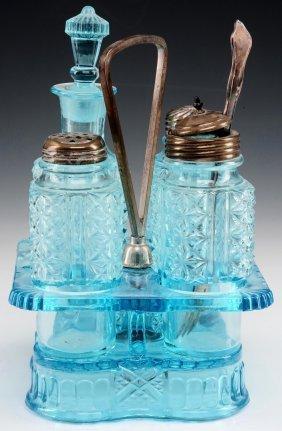 An Adams 'ashman' Pattern Blue Eapg Condiment Set