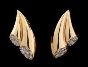 Gold And Diamond Earrings Signed Enrique Pascual
