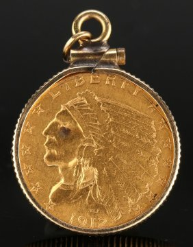 A U.s. 1912 $2.5 Indian Head Gold Coin Pendant