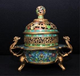 Large Chinese Qing Bronze Enamel Incense Burner