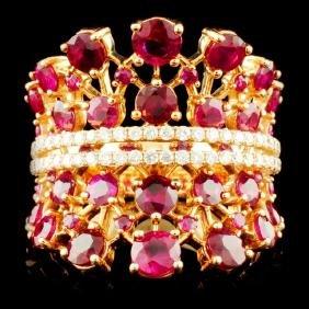 18K Gold 4.67ctw Ruby & 0.45ctw Diamond Ring