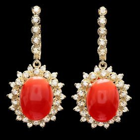 14k Gold 10.50ct Coral 2ct Diamond Earrings