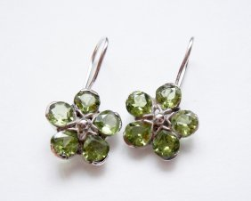 925 Sterling Silver, Natural Peridot Dangle Earrings