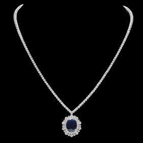 18k Gold 6ct Sapphire 5ct Diamond Necklace