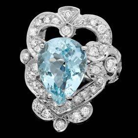 14k Gold 5.50ct Aquamarine 1.15ct Diamond Ring