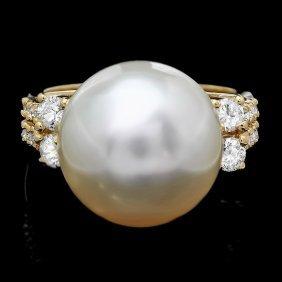 14k Gold 14 X 16mm Pearl 0.60ct Diamond Ring