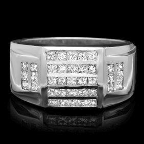 14k White Gold 1.65ct Diamond Mens Ring