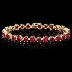14k Gold 21ct Ruby 0.90ct Diamond Bracelet