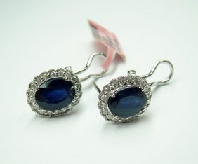 14KT Gold, 4.23ct Sapphires & 0.34ct Diamond Earrings