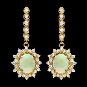 14k Gold 3ct Opal 1.65ct Diamond Earrings