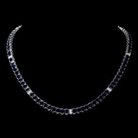 14k Gold 53ct Sapphire 1.20ct Diamond Necklace