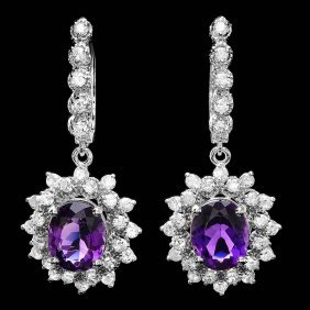 14k Gold 5ct Amethyst 1.95ct Diamond Earrings