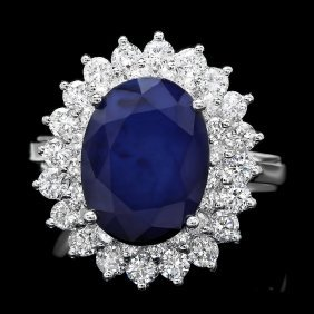 14k Gold 4.50ct Sapphire 1.45ct Diamond Ring